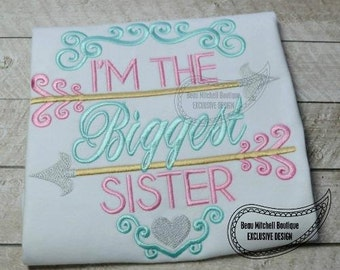Sibling shirt - Biggest Sister - Big Sister - Embroidery gift - Baby gift - Customizable 23