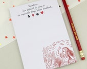Alice in Wonderland Notepad - Jotter Pad - To Do List - Gift for Book Lover