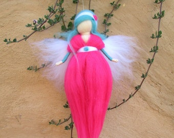 Pink Fairy,wool Fairy,Waldorf Needle Felting,Faerie,Women Empoerment,Gift For Her,Ornaments,Made To Order