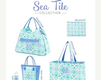 ON SALE Sea Tile Collection/ Many items to choose from/ Cooler, Coozie, Accessory Bag and More/ Beach Trip Luggage/ Beach bag set/ Bridal Gi