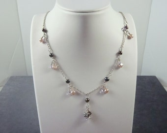 Sterling Silver Crystal Pearl Necklace N6