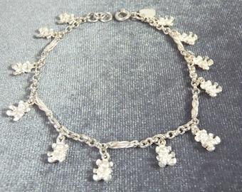 Sterling Silver Teddy Bear Charm Bracelet B38