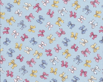 Blue Fabric - Lecien Old New 30's - Bow Fabric - Pink Bow Fabric - Reproduction Fabric