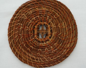 Trivet Brown Pine Needle Trivet Pine Needle Hot Pad Pine Needle Coiled Trivet Brown Trivet Housewarming Trivet Native Trivet Rustic Trivet