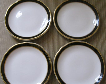 Black and Gold Bands Jackson China Restaurant Ware Dessert Plates 5.5 inch diameter made Falls Creek Pennsylvania, circa 1968 Foursome