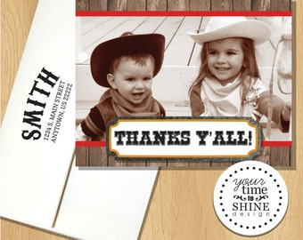 Cowboy - Thank You Folded Notecard - Blank Inside