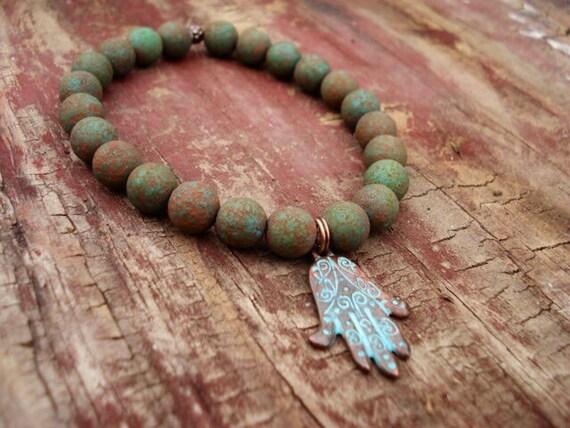 Copper Patina Hamsa Charm Bracelet, Turquoise Czech Glass Bracelet, Religious Bracelet, Spiritual Bracelet, Mala Bracelet, Yoga Jewelry
