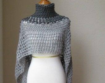Grey Bohemian Poncho Hippie, Boho Chic Yoga Poncho Crochet Cape Shawl Capelet Poncho Turtleneck Knit Trendy Original Design