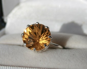 Citrine Solitaire Ring Round Honeycomb Cut Sterling Silver Solitaire Ring