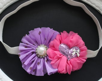 Lilac Lavender Chiffon with Pearl Diamond Jewel Accent and Pink Flower with Purple Sequin Heart and Ivory Gem Bow on Cream Elastic Headband