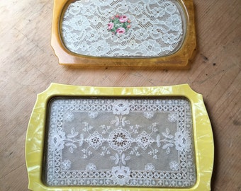 Celluoid Lace Trays Vintage Pair
