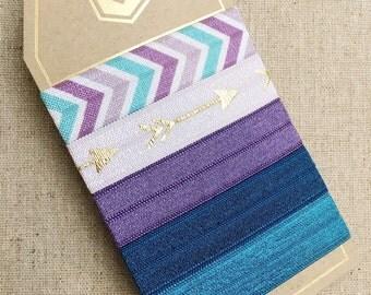 Indigo Violet- Set of 5 Elastic Hair Ties