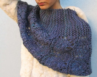 Woman Arm Free Hand Knit Blue Poncho Capelet Wrap Spring Knitwear Cape