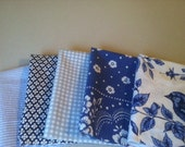 Kids Cloth Napkins School Lunch Box, Set of 5, Shades of Blue, by CHOW with ME