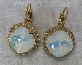 Eloise Swarovski Crystal Earrings white opal with clear crystals lever back from The Washington Avenue Collection by Bridget Blue®