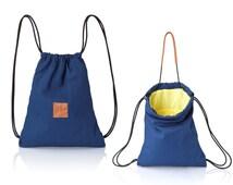 Denim blue backpack purse - multiway back bag - sack bag SALE canvas rucksack - laptop bag drawstring backpack - sling bag - women backpacks