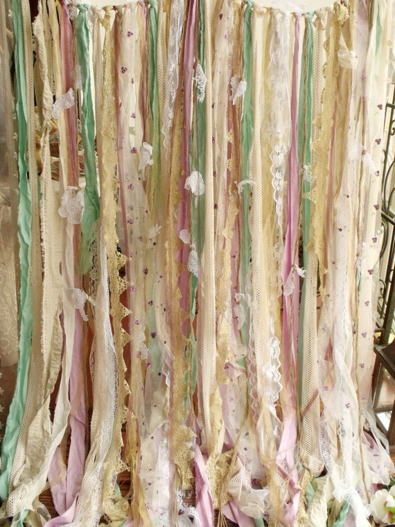 Shabby chic vintage rustic garland curtain lavender mint gold for Shabby chic garland lights