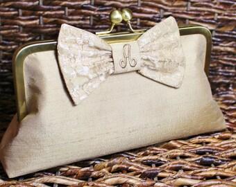 Personalized Silk Dupioni Lace Bow Clutch - Wedding Clutch - Bridesmaid Clutch -Champagne Gold, Ivory, Silver