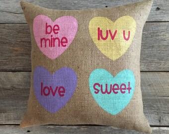 Burlap Conversation Heart Pillow,Burlap Pillow,Valentine's Pillow,Heart burlap pillow,heart pillow