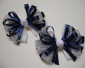 Navy Blue Glitz Silver and White Hair Bows 4 inch Piggy Tail Set School Uniform Team Spirit Wear