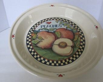 "Susan Winget's Checkered 'Apples Watermelon Peaches Pears' 1980s Design - 11"" Pie Plate Peaches"