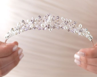Pearl Wedding Headpiece, Bridal Hair Accessory, Pearl Wedding Crown, Pearl Bridal Tiara, Pearl Wedding Tiara,Pearl Bridal Headpiece ~TI-3208