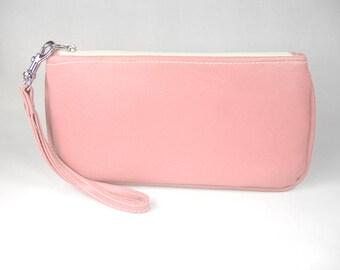 Vegan Leather Wristlet - Light Rose Pink