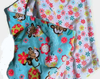 Monkey Baby Blanket, Minky Baby Blanket, Baby Girl Blanket, Stroller Blanket, Infant Blanket, Girl Nursery bedding,Carseat Size 29 x 36 in