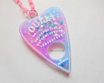 Galaxy Glitter Ouija Board Planchette Necklace