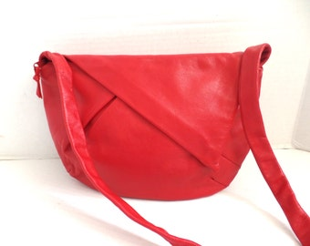 80s Red Leather Purse, Avante Garde Purse, Asymmetrical Purse, Deadstock