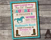 Cowgirl Western Birthday Invitation, Western Party, Horseback Riding invitation, Printable Invitation for Girls Birthday Party