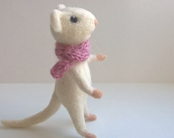 Needle felted mouse, white mouse, pink scarf.