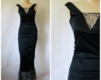 Vintage Lingerie / Vintage Wiggle Gown / Park Place Lingerie / Morticia Dress / Gothic Maxi XS/S