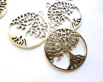 6 Antique Silver Tree Of Life Charms - 21-61-8