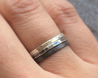 Ombre Silver Stacking Ring Set | Hammered Sterling Silver Stack Rings | Black Grey Stacking Rings | Set of 3