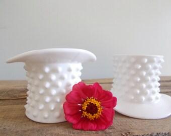 Two Vintage Hobnail Fenton Milk Glass Hats