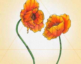 Geometric Poppies Print