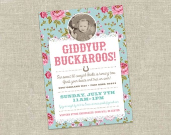 Rodeo Cowgirl Birthday Party Custom Invitation Printable with Photo