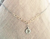 "Personalized P girlfriend necklace, P initial Letter coin necklace, Mixed-Metal gold filled silver initial jewelry, ""P"" stamped coin choker"