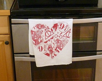 Harry Potter Heart Hand Printed Tea Towel