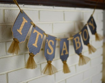 It's A Boy Banner, Embossed Black and Gold Banner with Tulle, Boy Baby Shower Decoration, Baby Boy Shower Banner, Nursery Banner