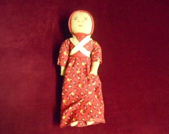 Sweet Homemade Primitive Style European Costume Cloth Doll 10 Inches Tall Vintage Collectible