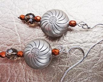 Tribal Silver Earrings, Karen Hill Tribe Silver, Silver and Copper Earrings, Smoky Quartz Earrings