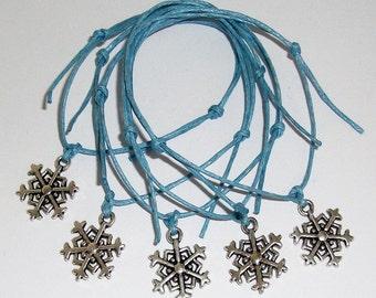 5 SNOWFLAKE Charm Pale Blue Friendship Bracelets - Frozen Party Bags