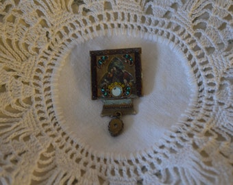 ON SALE   A Vintage Costume Pin with Faux Stones and a Faux Painting