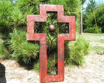 Large Red wall cross, christian wall art, unique religious gift, handmade usa, scrolled iron 4