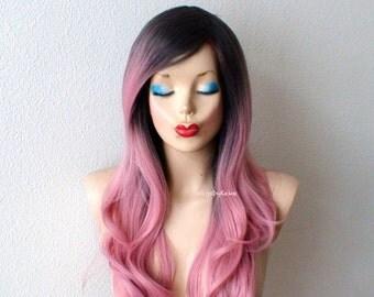 Blaue Perücke. Blaue Haare mit Pink / lila / Lavendel Tipp