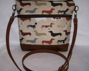 Made to Order -  Dachshund-Wiener Dog Cross-Body Bag - Purse - Shoulder Bag In Pink, Tan, Blue or Purple