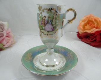 """1930s Vintage Lusterware Fragonard """"Courting Couple"""" Love Story Footed Pedestal Demitasse Cappuccino Teacup - Superb"""