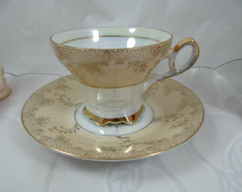 1930s Vintage Cream or Brown  Lusterware Irridescent Footed Teacup and Saucer Japanese Tea Cup